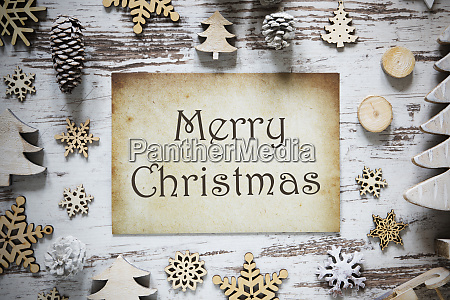 rustic christmas decoration paper text merry