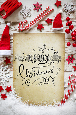 bright christmas flat lay snow calligraphy