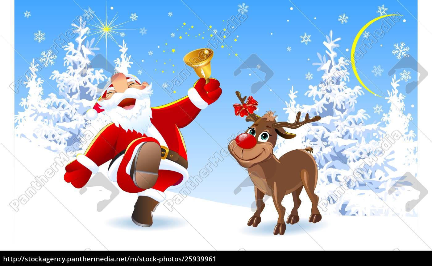 joyful, santa, and, reindeer - 25939961