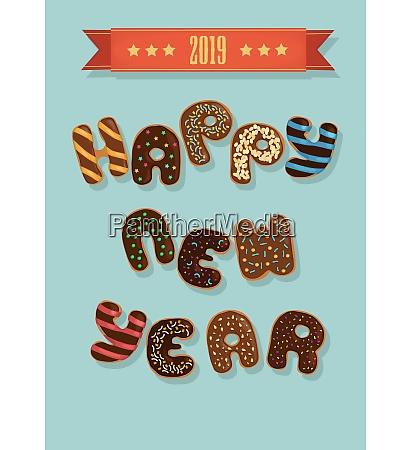 happy new year 2019 chocolate donuts