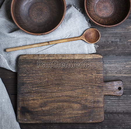 empty old cutting board spoon and