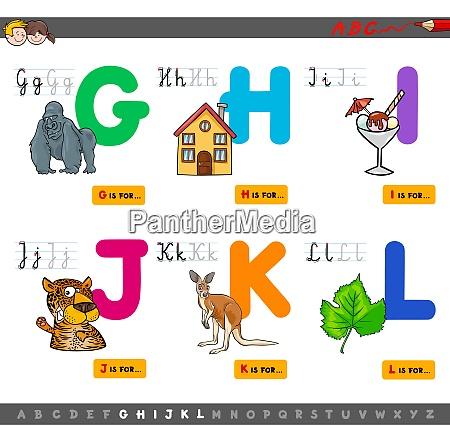 educational cartoon alphabet with animals