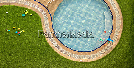 close up outdoor swimming pool and