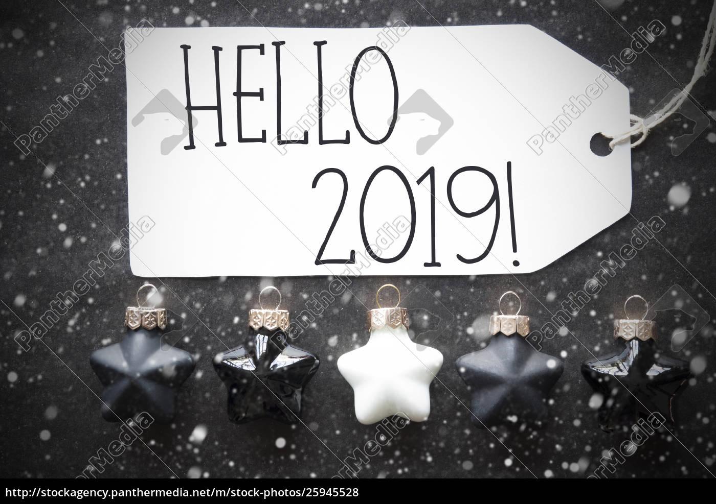 Black Christmas Balls.Royalty Free Photo 25945528 Black Christmas Balls Snowflakes Text Hello 2019