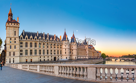 seine and conciergerie paris france