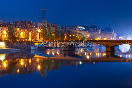 night seine paris france