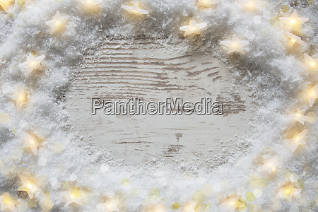 wooden vintage christmas background snow and