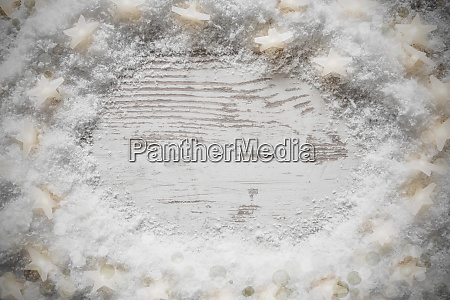 white wooden christmas background snow and