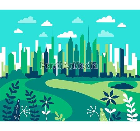 city landscape flat design urban illustration