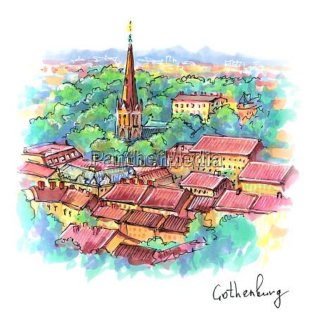 aerial view of gothenburg sweden