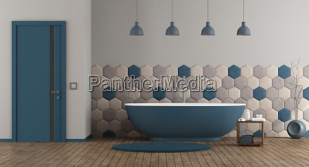 blue and gray modern bathroom
