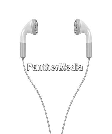 white modern earphones