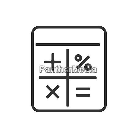 calculator line icon on a white