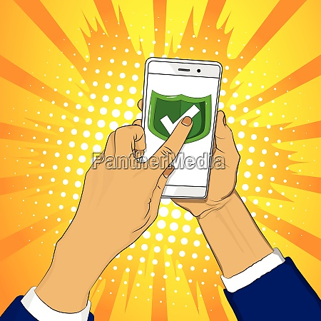 hand holds smart phone with green