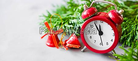 christmas composition xmas fir branches alarm