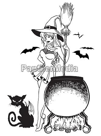 witch cauldron and cat bat line