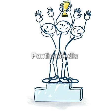 stick figures as winners with trophy