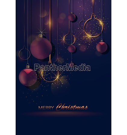 dark christmas greeting with baubles and