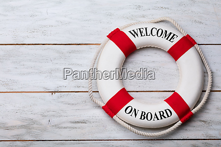 welcome onboard text on lifebuoy