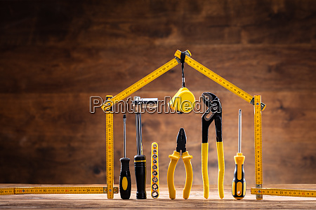 house made up of measuring tape