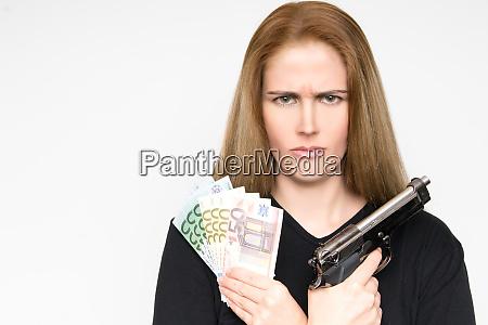 dangerous blond woman with grim face