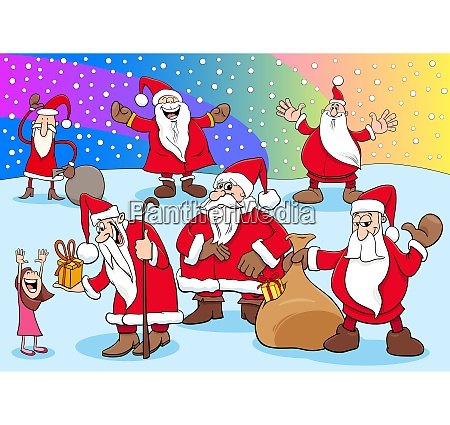christmas santa claus cartoon characters group