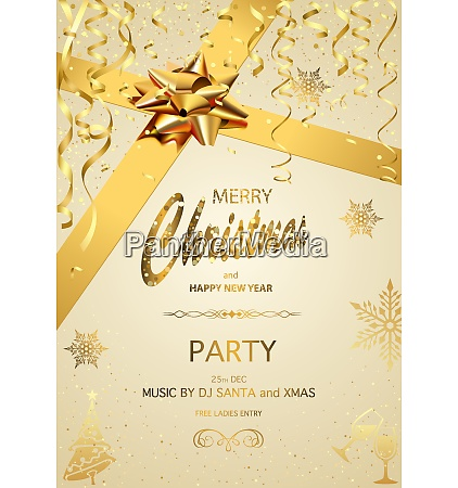 christmas party invitation on gold background