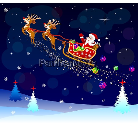 santa, with, gifts, on, his, sleigh - 25958371