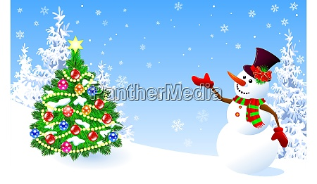 snowman, welcomes, decorated, christmas, tree - 25959659