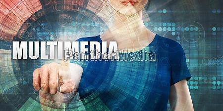 woman accessing multimedia