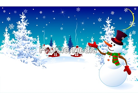 snowman on a winter background greeting