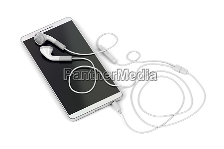 smartphone and wired earphones