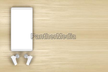 smartphone and wireless earphones on wood