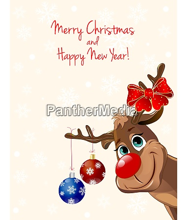 deer with christmas decorations greeting card