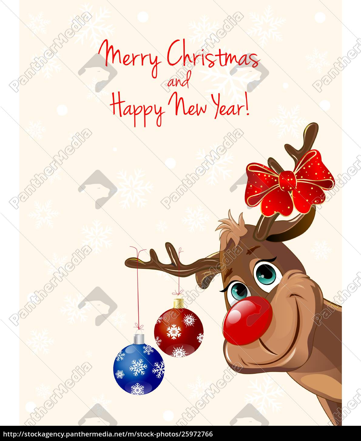 deer, with, christmas, decorations, , greeting, card - 25972766