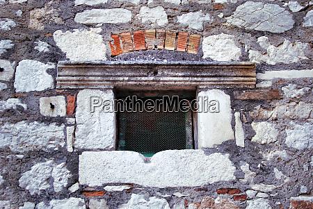 vintage old window with lattice metal