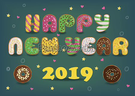happy new year 2019 colorful donuts