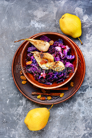 salad of cabbage pears and spices