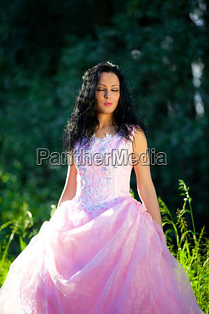 woman with pink dress on the