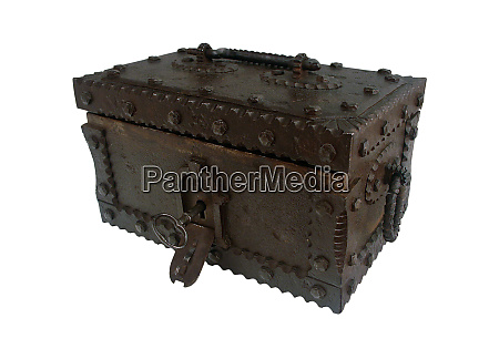 antique style treasure chest on white