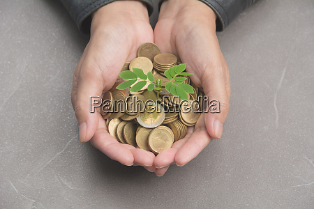 male holding money gold coins with