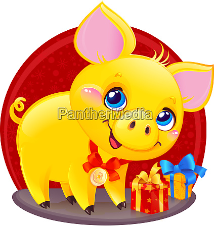yellow earthy pig with gift box