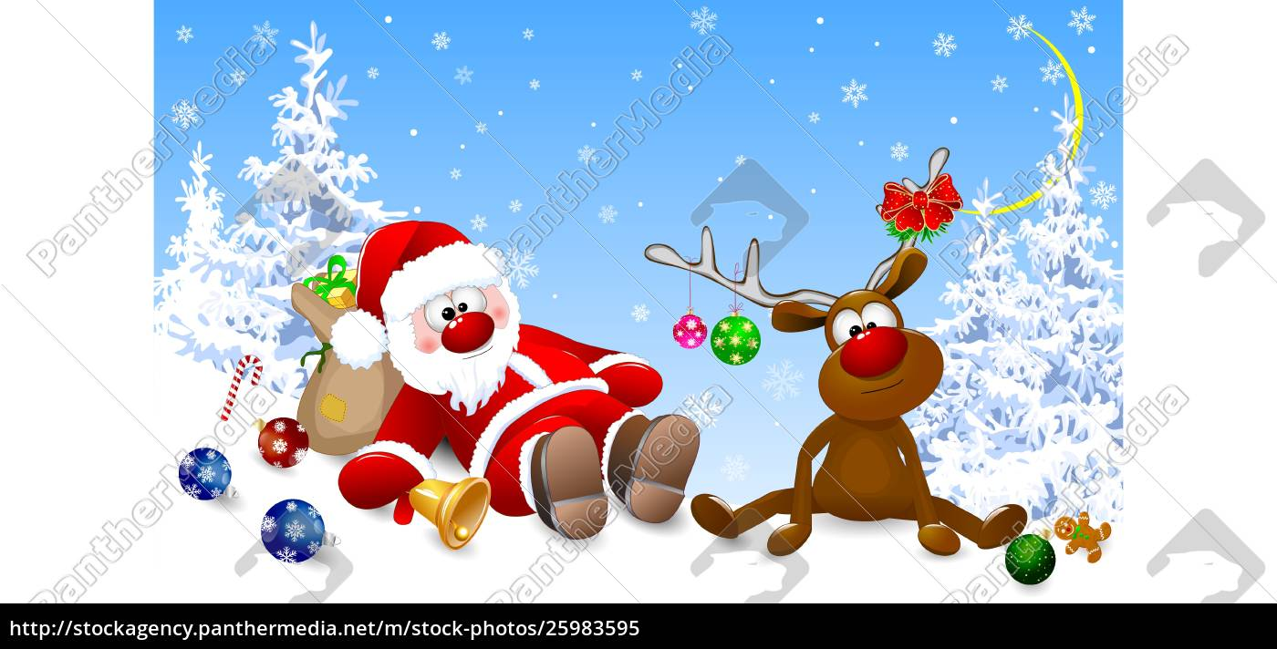santa, and, deer, in, the, morning - 25983595