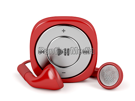 red mp3 player and wired earphones