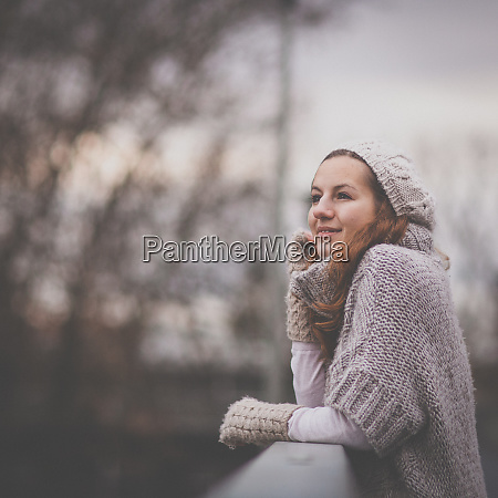 autumnwinter portrait young woman dressed in