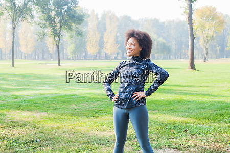 sporty girl exercise at park
