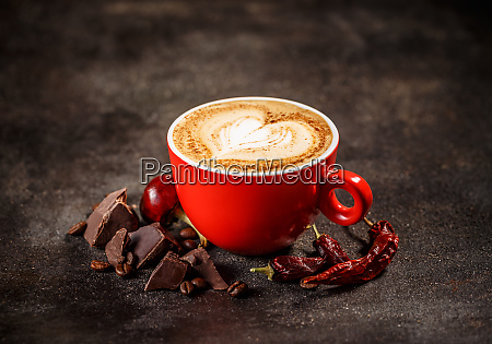 coffee cup with chili peppers