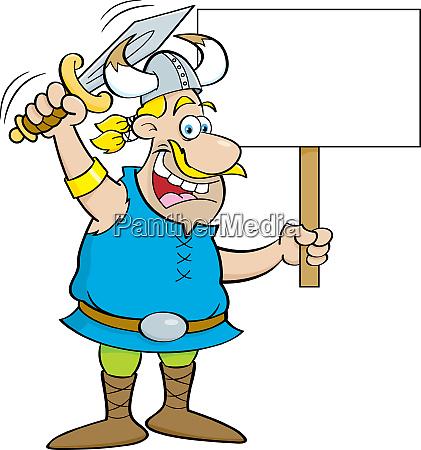 cartoon illustration of a viking waving