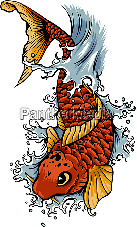 hand drawn outline koi fish and
