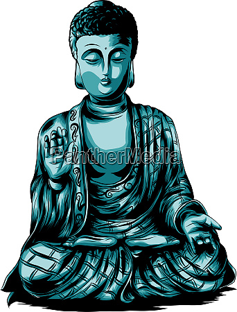 vector sketch illustration with buddha drawing